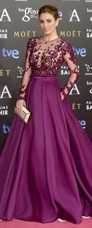 2017 À La Mode Illusion Corsage Robe De Soirée Jewel Cou À Manches Longues En Dentelle
