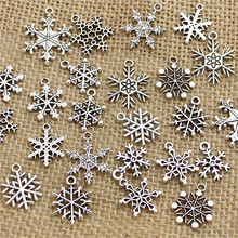 Mixed 100 pcs Snow Charms ndants Beads Metal Alloy Pandent Plated Antique silver Christmas charm Diy T0467(China (Mainland))