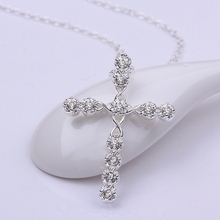 Hot sell new style silver plated CZ diamond Crystal Necklace Fashion Jewelry Classic Cross Free shipping