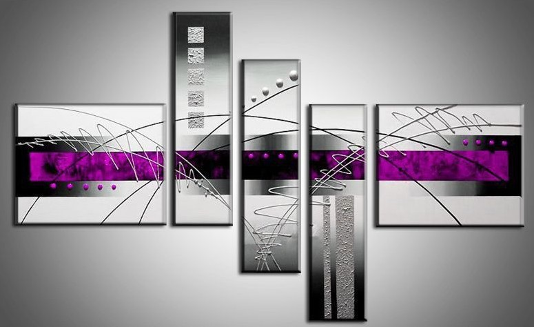handpainted 5 piece black white purple modern abstract oil paintings on canvas wall art pictures for living room home decoration - Salon Noir Blanc Violet