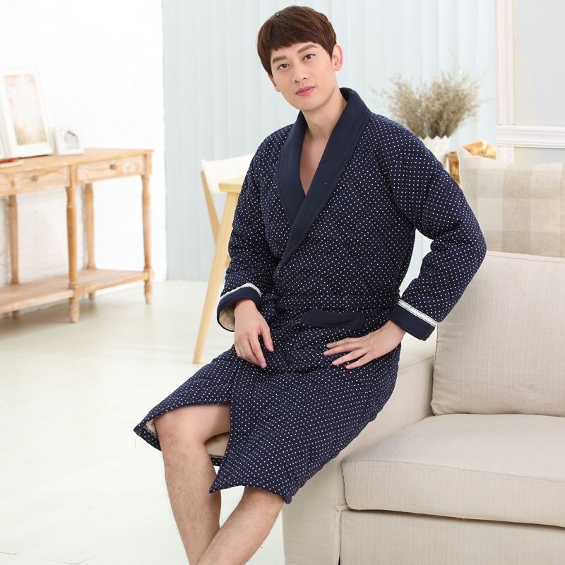 Warm winter peignoir homme warm quilted winter robe bathrobes male xxxl longe - Peignoir homme descamps ...
