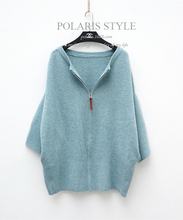 Winter Long Loose Rabbit Fur Women Sweater Knitted Cardigan Drop shoulder Coat with Zipper of 2 Colors(China (Mainland))