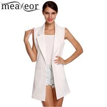 Meaneor Brand waistcoat Women Autumn Sleeveless Vest Jacket Long Thin Cardigan Joker Coat Outwear for Women