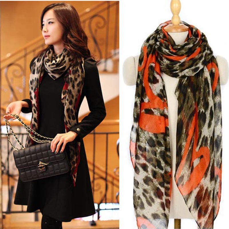 New Style Sunsreen scarf leopard and heart printed scarf large scarf For women Spring warm scarves pashmina shawl LT023(China (Mainland))