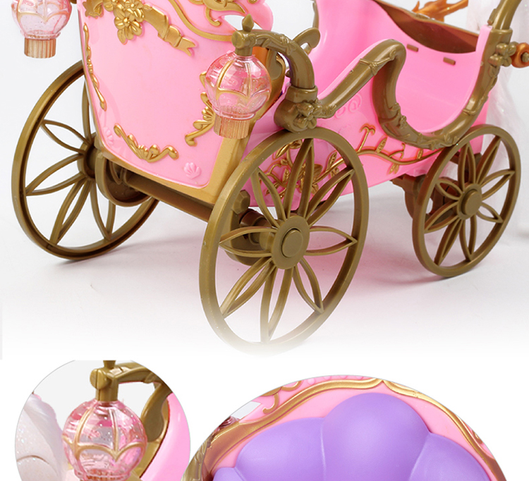 Free Transport BDCOLE-Rs Battery Powered Strolling Horse Dreamy Pumpkin Rattan Carriage for Barbie Doll Lady Birthday Present Toy