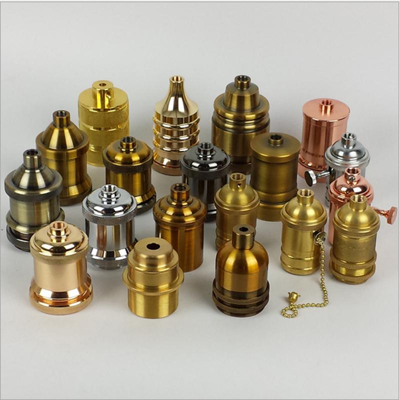 10pcs/lot  Loft Vintage Retro socket holder E27/110V/220V with knob switch Aluminium Lamp Base copper lamp cap bronze Metal cap<br><br>Aliexpress