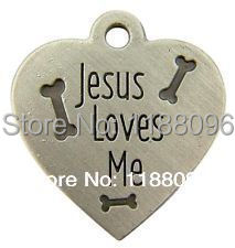 low price jesus loves me heart shape medal bones dog tag hot sales pet custom tag new metal dog cat tags(China (Mainland))