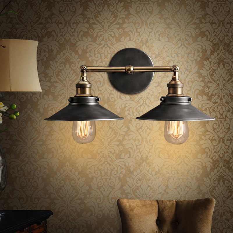 Modern Country Wall Lights : Modern Vintage Loft Metal Double Heads Wall Light Retro Brass Wall Lamp Country Style E27 Edison ...