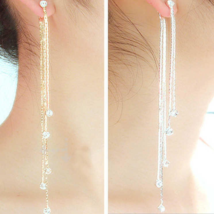 new fashion 5 chain gold silver long tassel earrings for