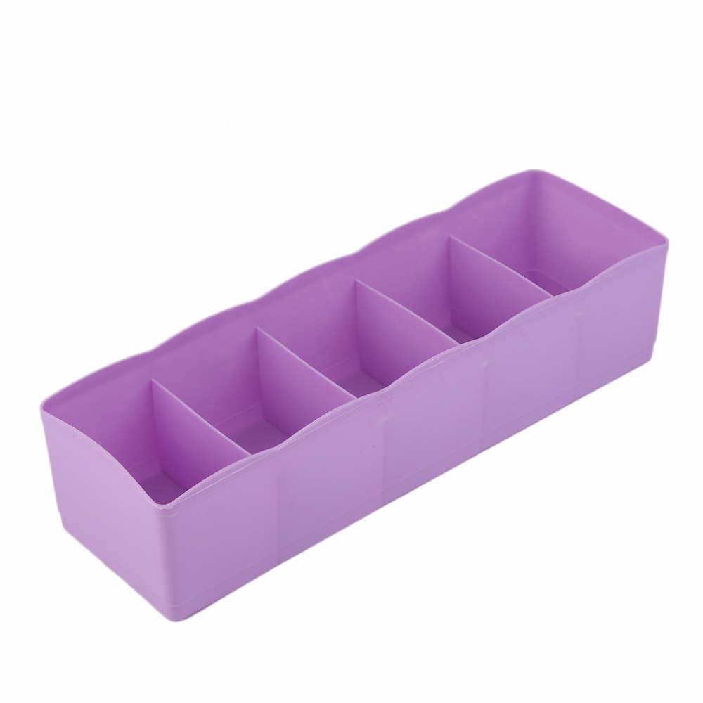 Hot! 4 Colors Five Grids Multifunction Underwear Socks Tiny Things Storage Box Plastic Finishing Box Drawer Desk Bed Cabinet(China (Mainland))