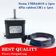 Buy Free 3D printer 4-lead Nema17 Stepper Motor 42 motor Nema 17 motor 42BYGH 1.7A, 17HS4401S motor CNC XYZ for $9.98 in AliExpress store