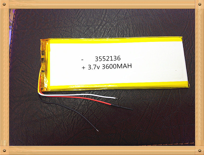 Free shipping 3552136 3.7 V lithium polymer battery tablet MID panel 3600 mah 3 lines(China (Mainland))