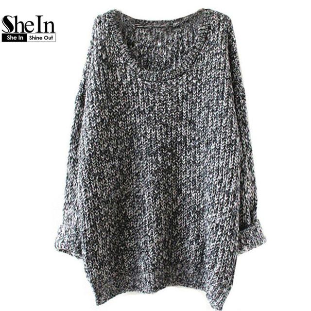 Shein 2016 свободного покроя горячая распродажа пуловеры перемычки новых женщин серый ...