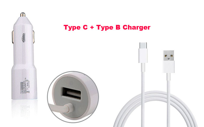2.1A Type B USB Mobile Phone Car Charger Lighter Cell Phone Charger+Type C USB Cable For ZTE Axon 2,ZTE Axon 7,ZTE nubia Z11 Max(China (Mainland))