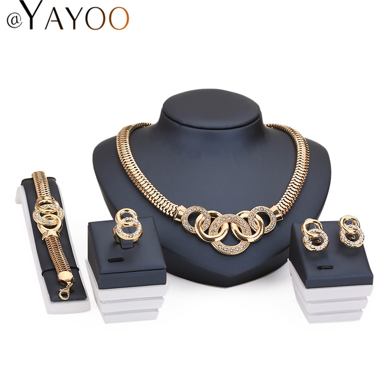 Jewelry Sets For Women African Beads 18K Gold Plated Bridal Round Necklace Bracelet Crystal Earrings Rings Wedding Accessories(China (Mainland))