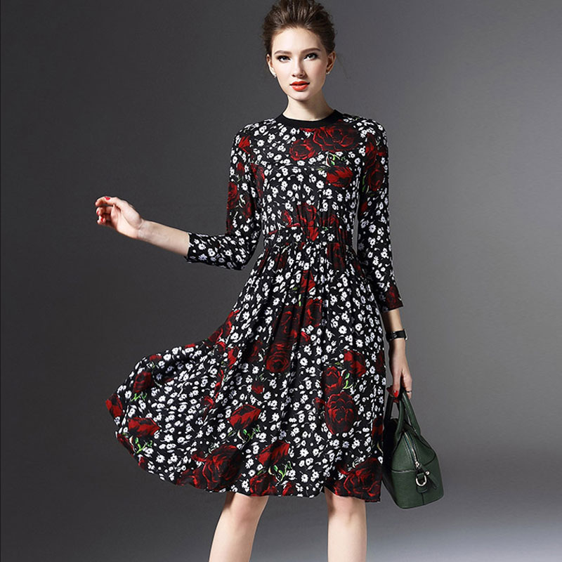 2016 Spring Fashion Normal Elegant Empire Draped Pleated Dress Three Quarter Sleeve Slim Silk Flower Print Women Dress Plus Size