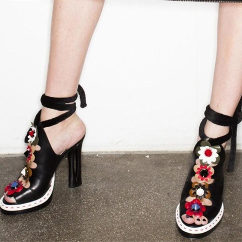 Shoes Woman Sandals Open toe Ankle Strap Sweet Flower Slipper gladiator Female high heel Platform Summer Shoes Ladies Footwear(China (Mainland))