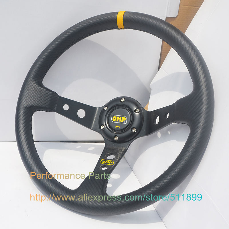 Carbon Fiber Look PVC Wrap Modified Car Steering Wheel OMP Style Universal Steering Wheel(China (Mainland))