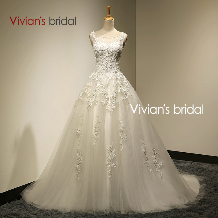 Vivian's Bridal Real Photo A-Line Scoop Neck Lace Up Sweep Train Wedding Dress 2017 With Beaded mariage Wedding Gowns SA006