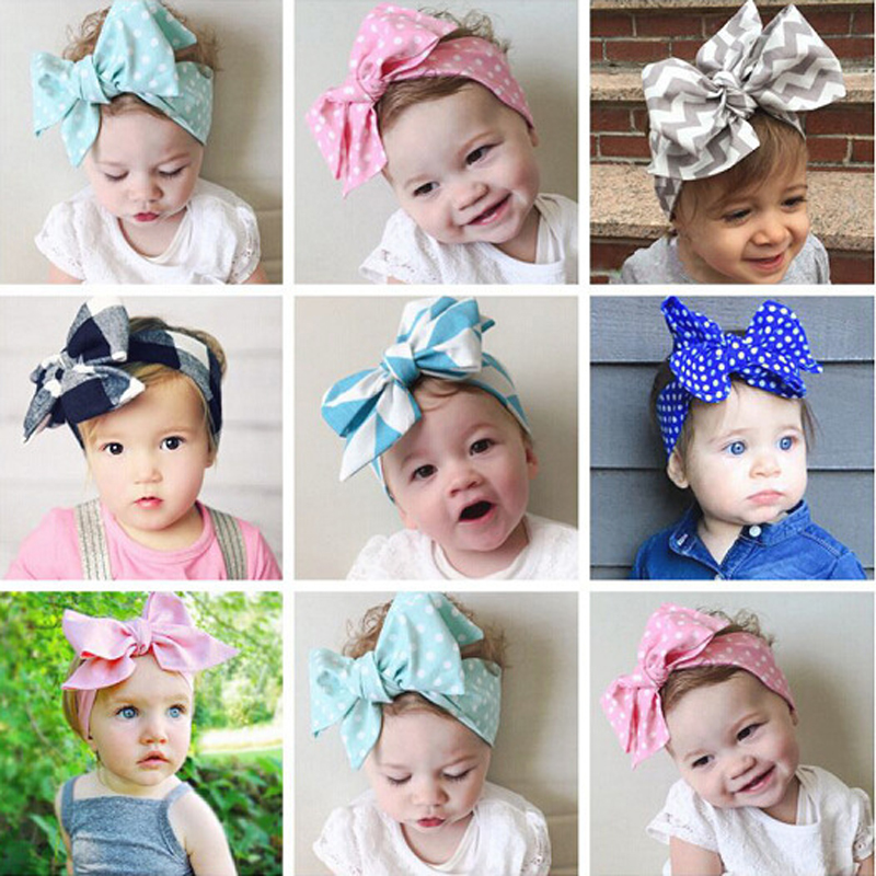 New Retail Cute Girl/Boy Hairband Top Knot Dot Big Bow Headband Children Child Teens DIY Headwear Turban Kids Hair Accessories(China (Mainland))