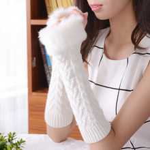 Free Shipping Arm Warmers Women's Fingerless Long Glove Mitten Girl Braided Knit Winter / Autumn Warm Arm Warmers(China (Mainland))
