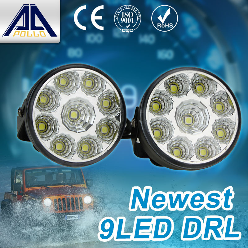 Super Bright DRL 2pcs x 9 LED Car head Front Round Fog Tail light Off-road Lamps parking Lamp Daytime Running Lights(China (Mainland))