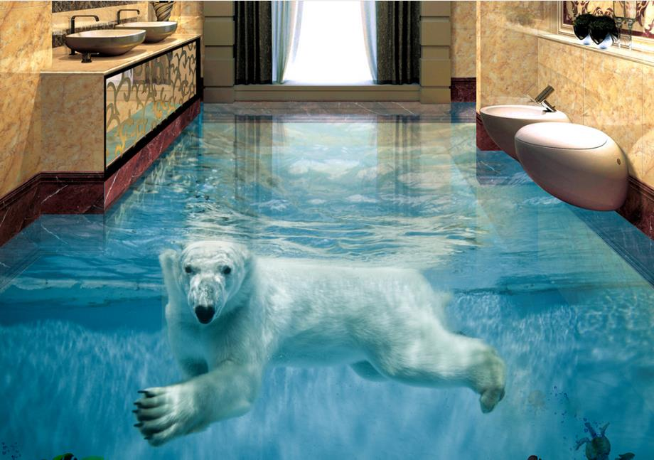 Custom Vinyl Flooring Adhesives Polar Bear Underwater World 3d Wall Mural Wallpaper 3d Floor
