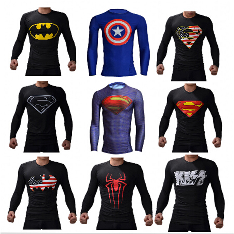 Superhero batman long-sleeved T-shirt avengers captain America men long sleeve T-shirt compressed armor base layer thermal shirtОдежда и ак�е��уары<br><br><br>Aliexpress