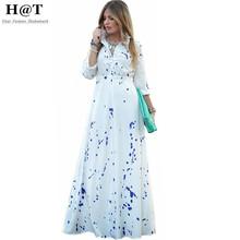 GD153 Womens White Ink Splash Print Shirt Collar Maxi Long Dress Dots Prints Half Sleeve Boohemian Vestidos S-XL(China (Mainland))