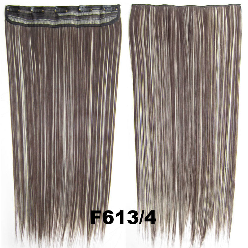60 cm 130g 5 clip in Hair extension High Temperature Fiber Clip in Hairpieces Straight Synthetic hair cabelo peruca Peluca bone<br><br>Aliexpress