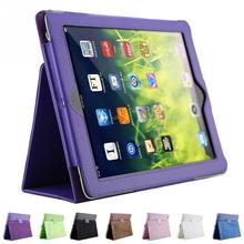1Pc litchi pattern protective leather case For iPad 2/3/4 with sleep wake up function(China (Mainland))
