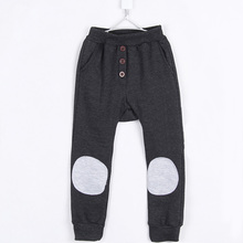2015 autumn and winter kids fleece long trousers children fashion patch clothing boys harem pants A0099(China (Mainland))