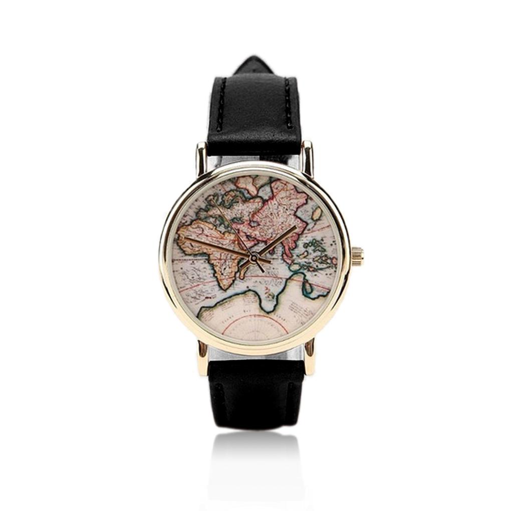 Гаджет  christmas gifts Retro World Map Watch Fashion Leather Alloy Casual Analog Quartz Wrist Watch wristwatches None Часы