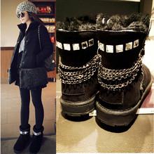 Bling Bling de moda corta de invierno botas de cuero real mujeres de la nieve patea los zapatos con diamantes de imitación envío gratis(China (Mainland))