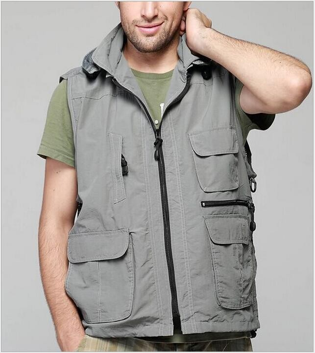 Summer Autumn Men Multifunctional Quick-Drying Fly Fishing Vest Fishing Vest Jacket Loose Outdoor Photography Angler Waist Coat