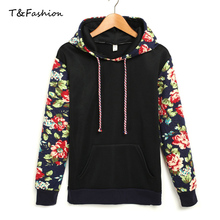 2016 Women Clothing Hoodies Sweatshirts Hoodie Cotton Black White Grey Hoody Sweatshirts Vintage Flower Printing Women Hoodies