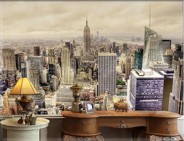 wallpaper new york city high rise landscape mural. Black Bedroom Furniture Sets. Home Design Ideas