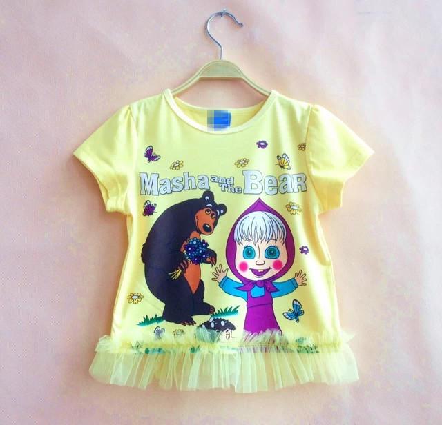 004 маша и медведь с коротким майка для девочки одежда saia халат детей летом verao puntilla roupas infantis желтый мультфильм