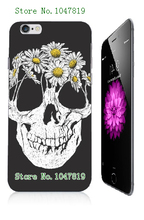 Mobile Phone Case Retail 1pc Hot Skull Design Protective White Hard Case Cover For Iphone 6 6th Free Shipping