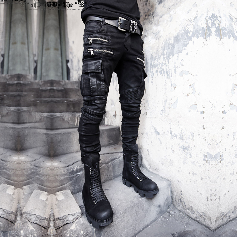 Фотография Trousers harem pants slim skinny pants british style personality trousers water wash jeans male