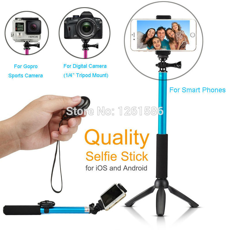 selfie monopod extendable stick cable take pole handheld holder w remote button for iphone 6. Black Bedroom Furniture Sets. Home Design Ideas