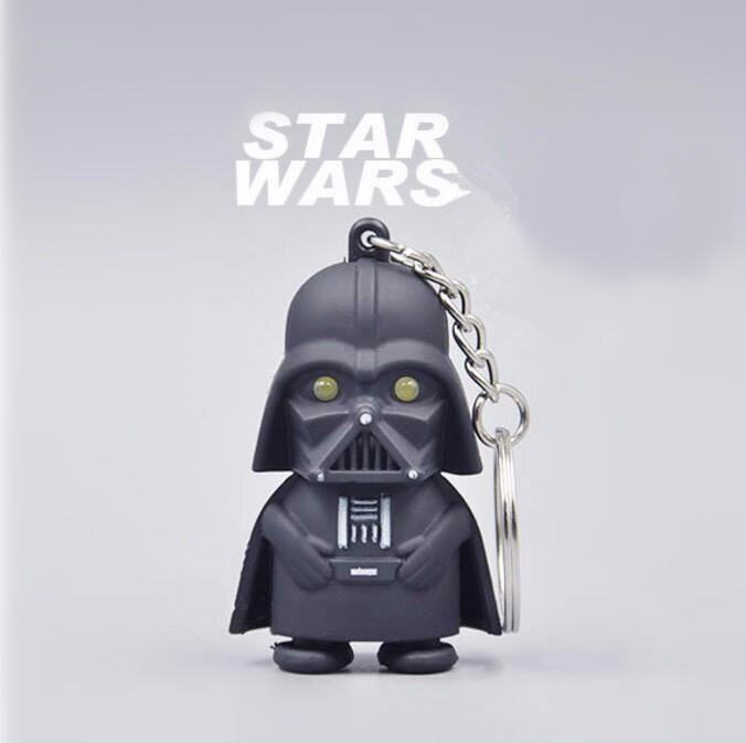 Cool! Ultra Bright LED Cute Mini Darth Vader Star War Anakin Skywalker Action Figure Toys With Sound Keychain Kids Gifts m151