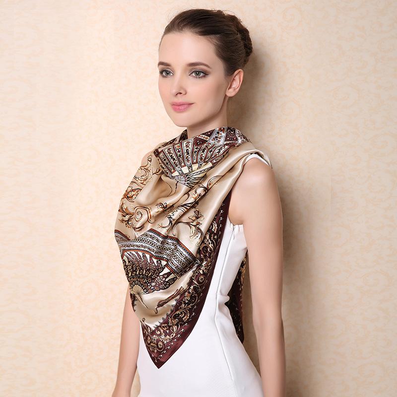 2016 spring high quality 100% real silk satin Scarf Shawl wrap women female fashion big square Scarves fan pattern 110x110CM(China (Mainland))