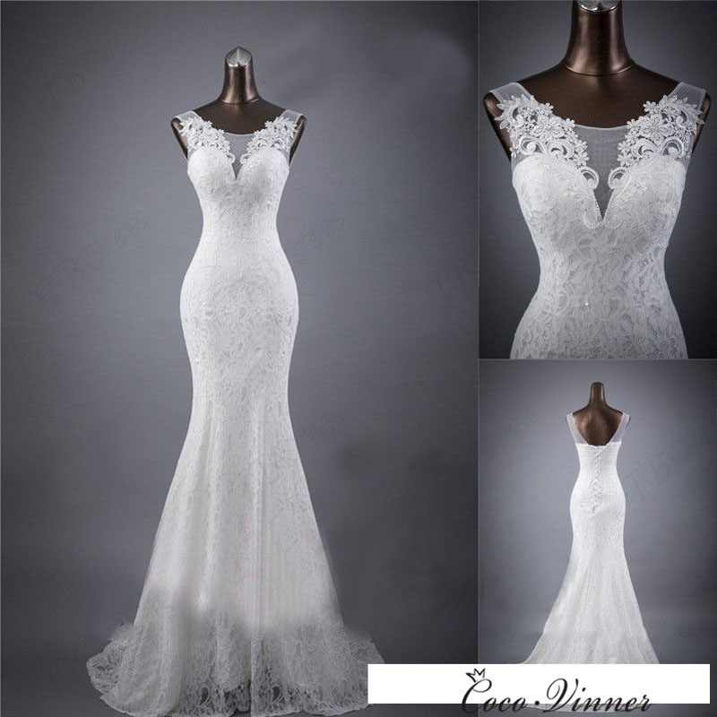 C.V Real photo Custom Made Lace Mermaid Wedding Dress 2017 New Arrival White Color V Neck Fish Tail Sexy Mariage Wedding Dresses