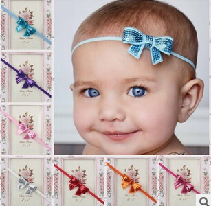 30pcs lot New Style Baby Girls hair accessories Embroidered sequin bows Headband Flowers Hairwear 12 colors