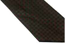 NT0506 Red Black Checks Plaids Classic Smooth Man s Casual Jacquard Woven Silk Polyester Necktie Business