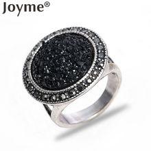 Joyme Brand 2016 Thai Black Stone Accessories Ring Men Bohemian Round Big Gem Resin Tibetan Silver Plated Vintage Jewelry anel