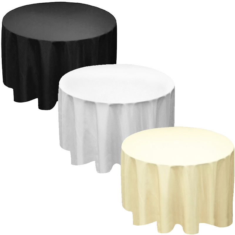 """Factory Suuply 110"""" Round Polyester Tablecloth Table cover Cloth White black ivory - Wedding Free Shipping(China (Mainland))"""