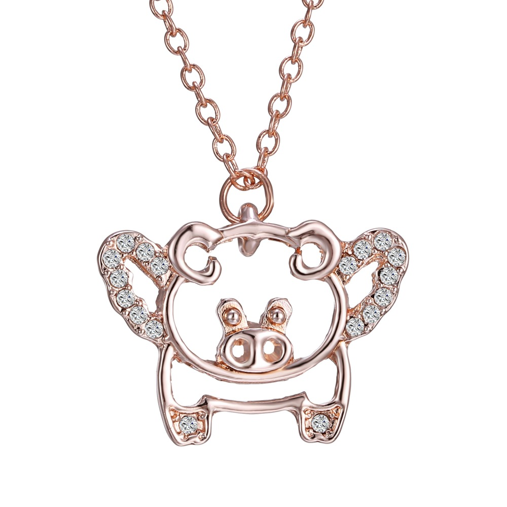 Fashion Design Cute Pig With Rhinestone Pendant Necklace Rose Gold Necklace Gift For Child(China (Mainland))