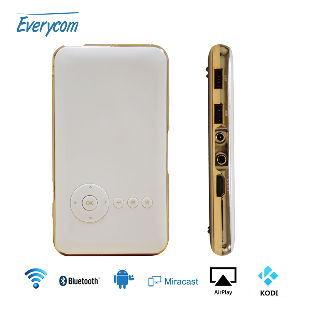 5000 mah battery everycom s6 plus mini pocket projector for Bluetooth handheld projector